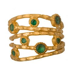 Emerald Hand Pounded Gold Vermeil Bands from @LaylaGrayce #laylagraye #pantone #emerald