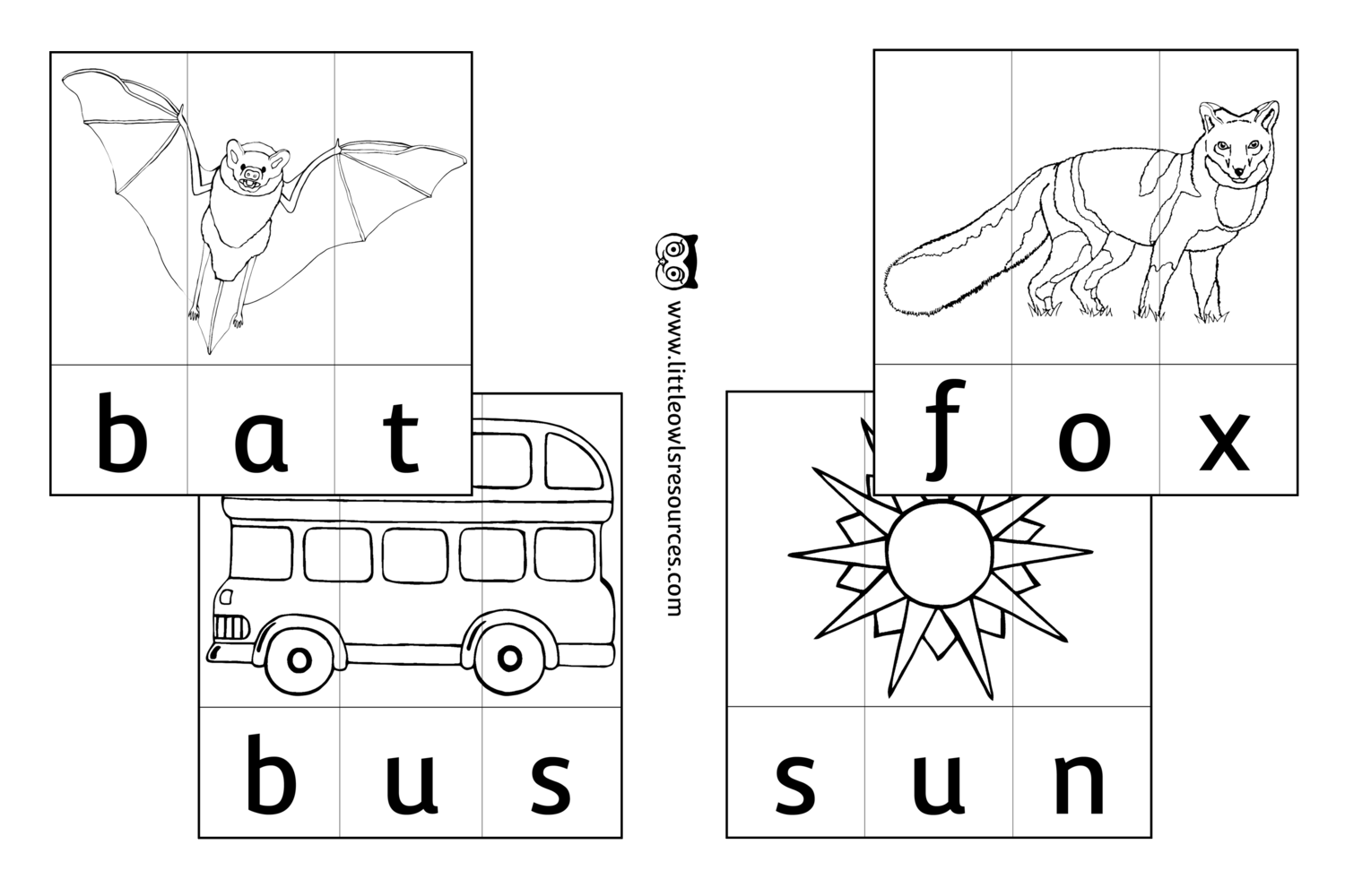 Free Cvc Word Slice Colouring Printable Early Years Ey