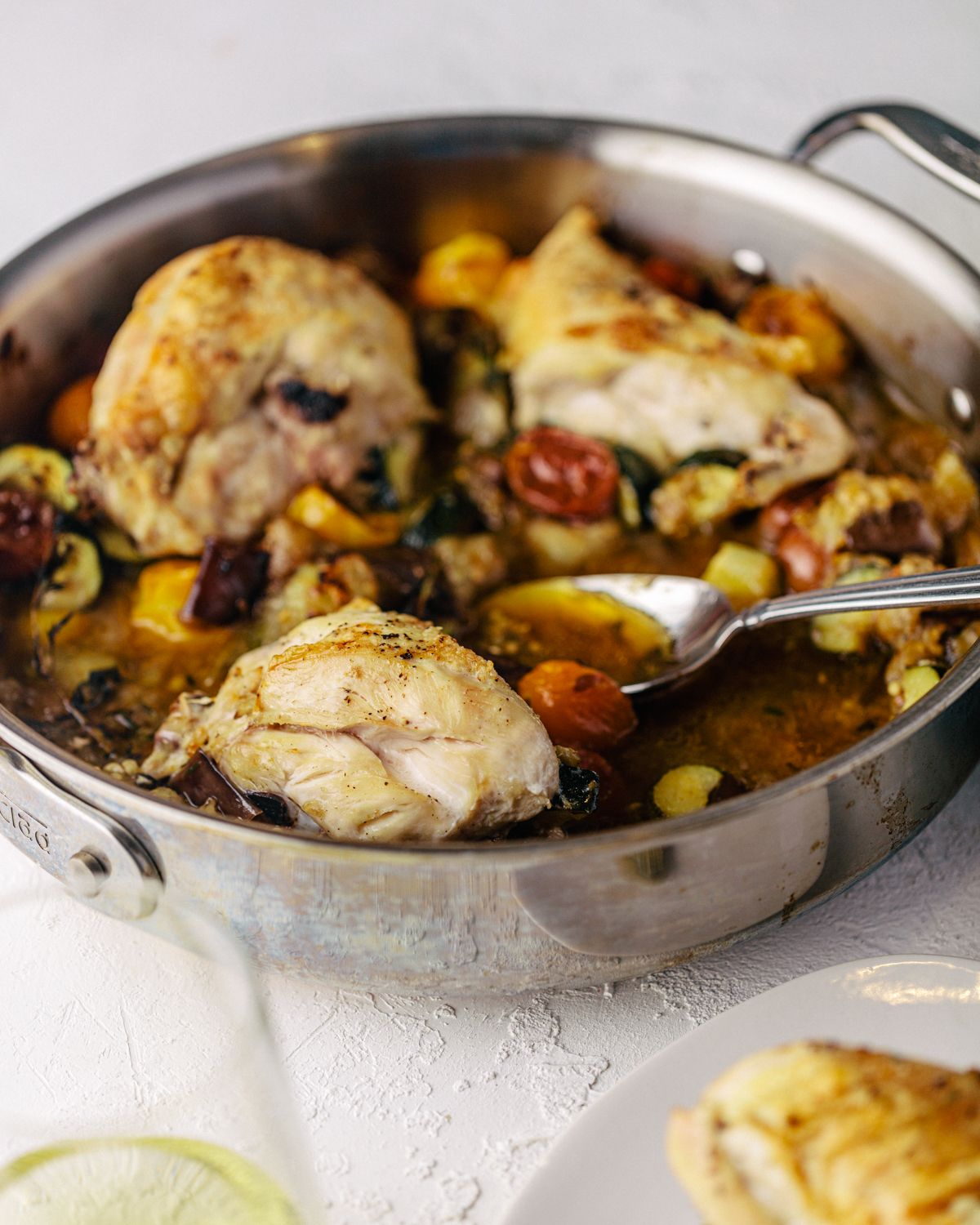 One-Skillet Roasted Chicken Breasts & Ratatouille