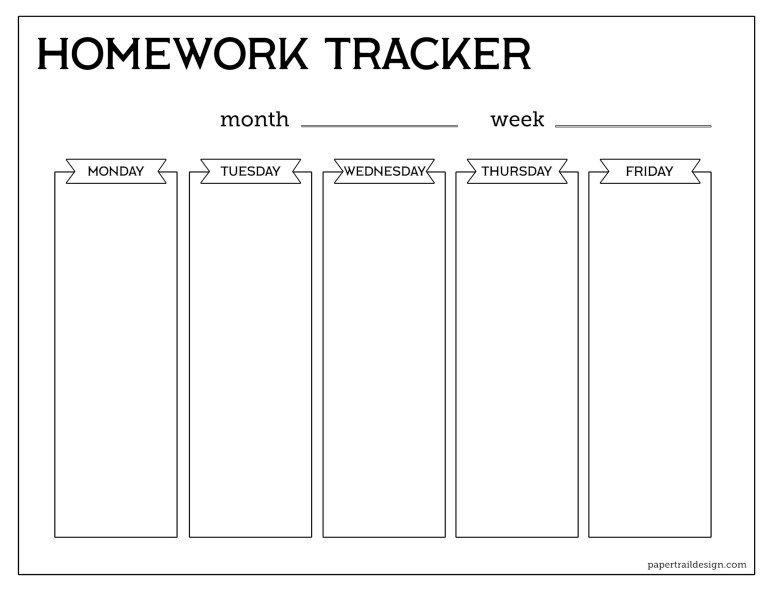 Free Printable Student Homework Planner Template Homework