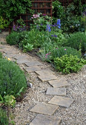I want something like this for a walkway instead of the Types of pathways in landscaping