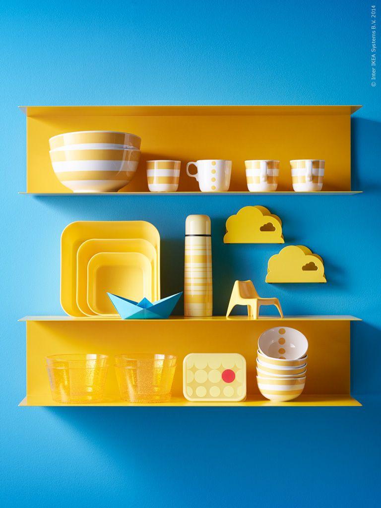 BOTKYRKA yellow metal folded shelves for kitchen | coffee shops ...