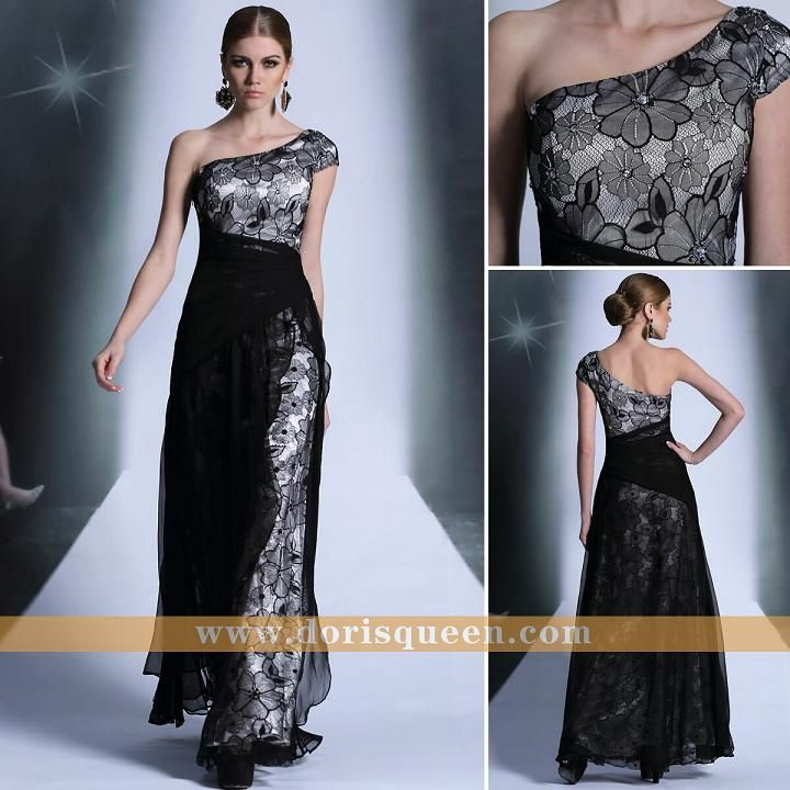 black modest one shoulder zuhair murad formal evening dress for party 2014 30892