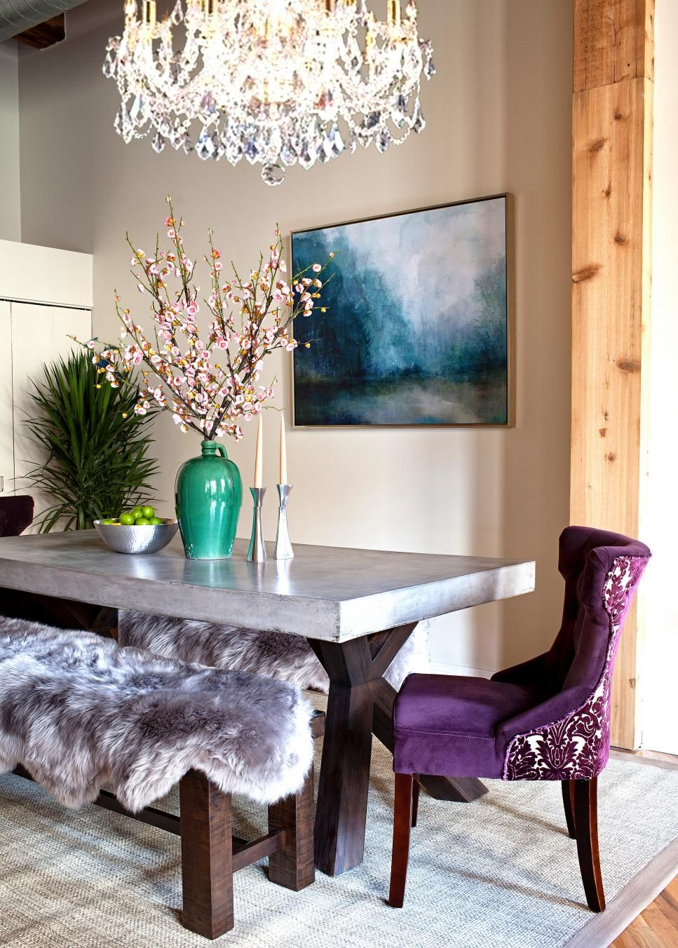 Rich Velvet Purple Chairs Sit At Opposing Ends Of The Table In This Ultra BenchDining