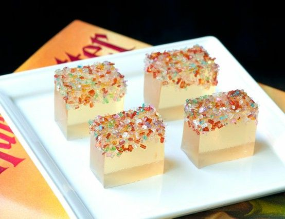 Champagne jello shots with pretty sprinkles..