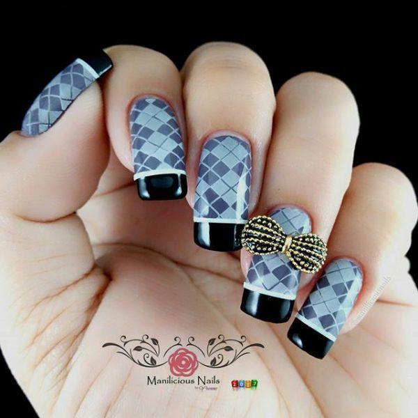 70 Shiny Square Long Nail Art Design Ideas:Sweater Inspired Nail Art ...