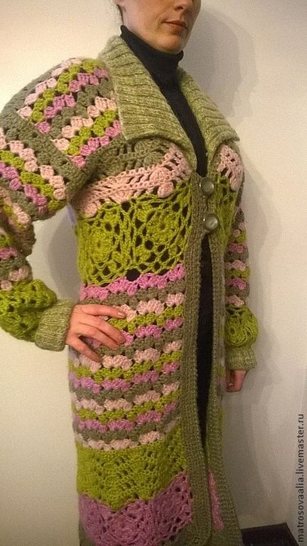 """Пальто женское """"Весна"""" - салатовый,пальто вязаное,пальто женское,пальто крючком"""