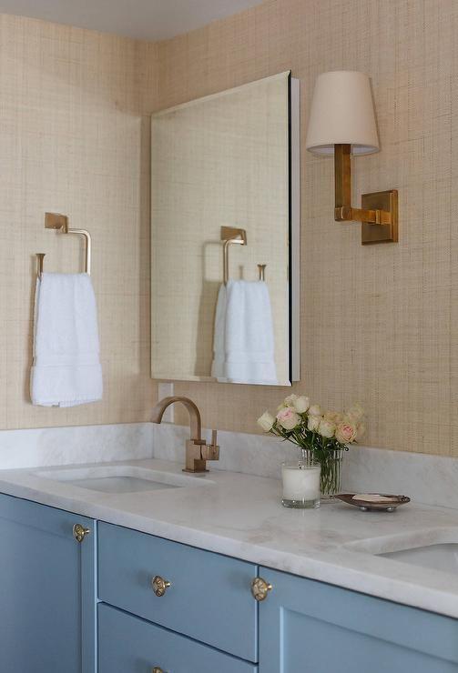 Tan And Blue Bathroom