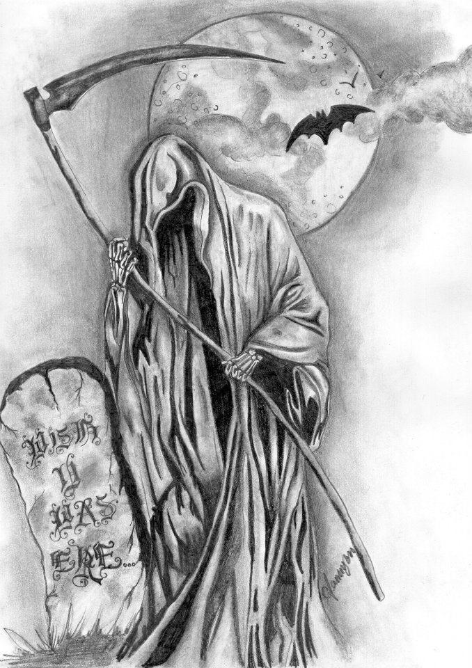 Wish U Was Ere Skulls Darkness Pinterest Death Tattoo