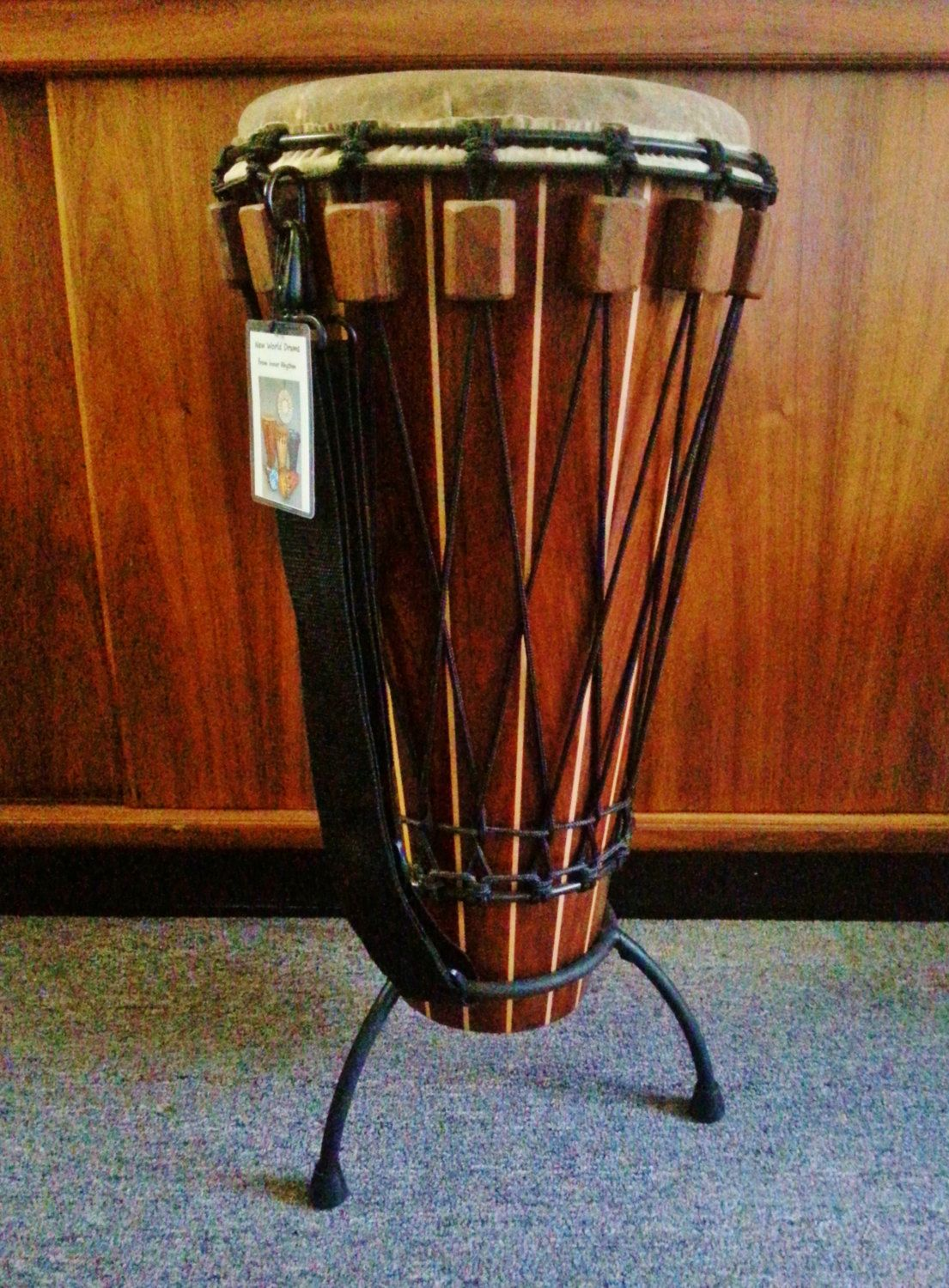 Solid Hardwood Master Crafted Black Walnut Maple Pinstripe Ashiko Drum Instant-Slide-Tuning Ivory Coast Goat  Carry Strap Padded Drum Stand
