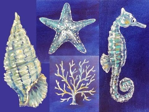 Nautical Ocean Sea Life Acrylic Paintings | Free Lesson on YouTube by  Angela…