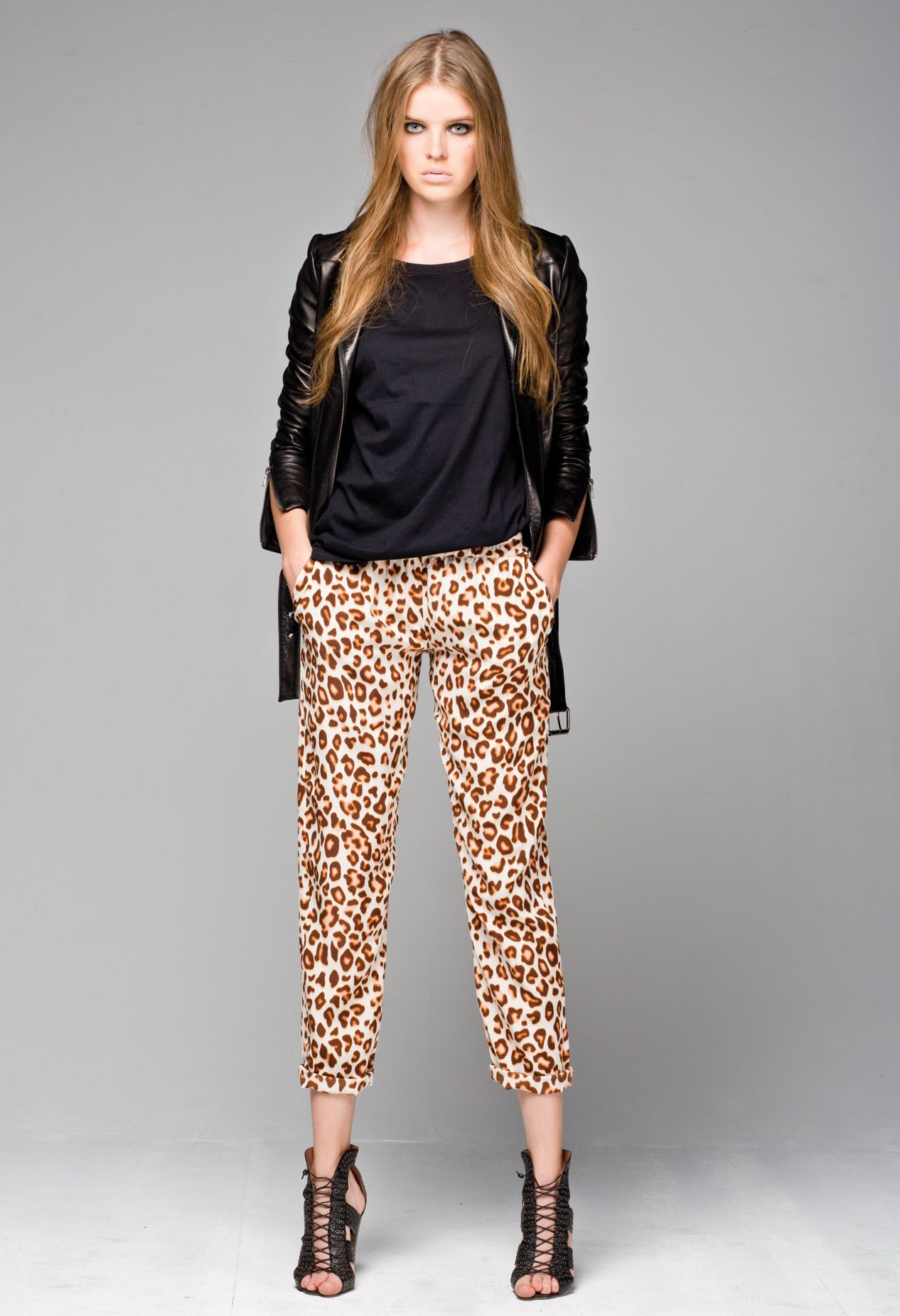 6cf808a8bdff Little Joe Woman's Wolf Whistle Leather Jacket, and Aimless silk leopard  print pants