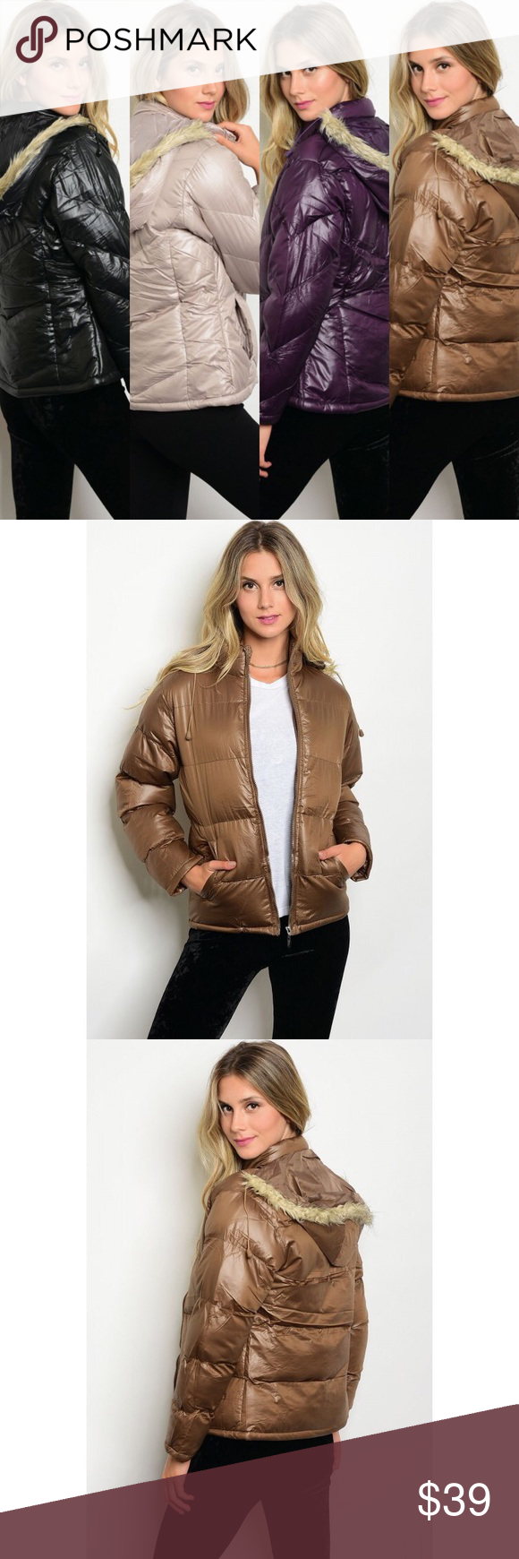 New Mocha Puffer Jacket New Long Sleeve Mocha Colored Puffer Jacket With Faux Fur Detachable Trimmed Hood Also Avail Clothes Design Fashion Fashion Design [ 1740 x 580 Pixel ]