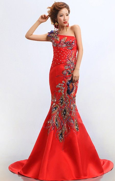 Stunning orange wedding gowns asian types One shoulder Fishtail Cheongsam Qipao Chinese Wedding