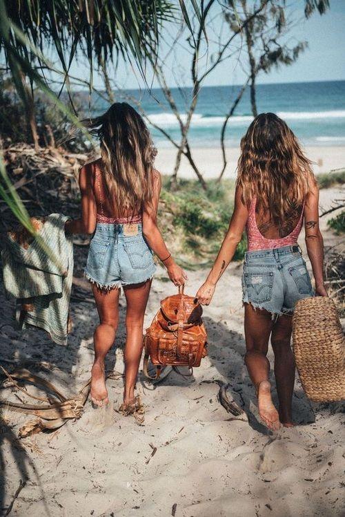 Traje De Bano Rosa Short De Mezclilla Summer Pictures Summer