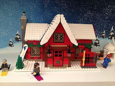Lego Winter Village Custom Ski Lodge Ski Snowboard Minifigures More Ebay Lego Winter Lego Winter Village Lego Christmas