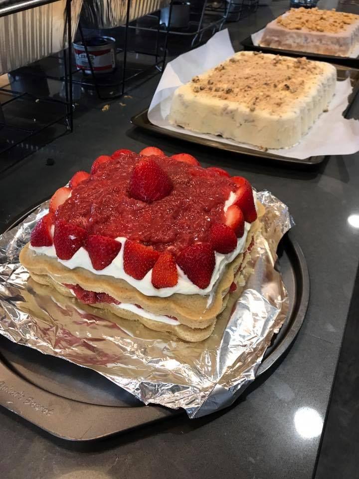 Homemade strawberry shortcake creation and two ice cream