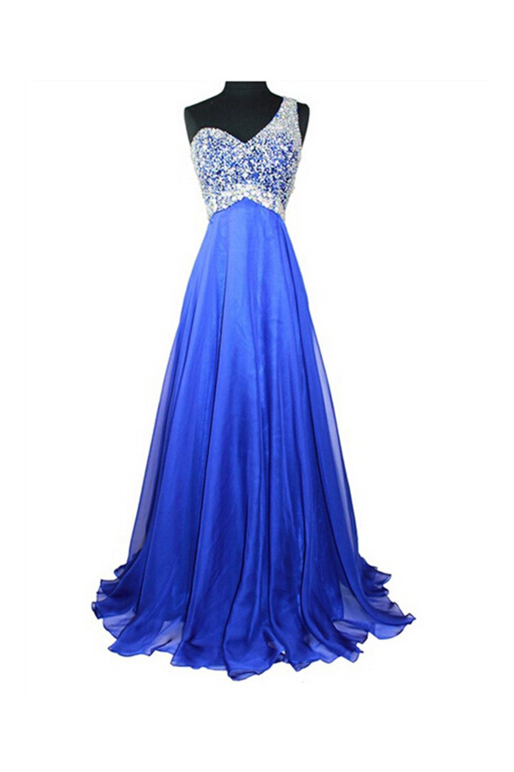 Royal blue beaded one shoulder long prom party dresses prom