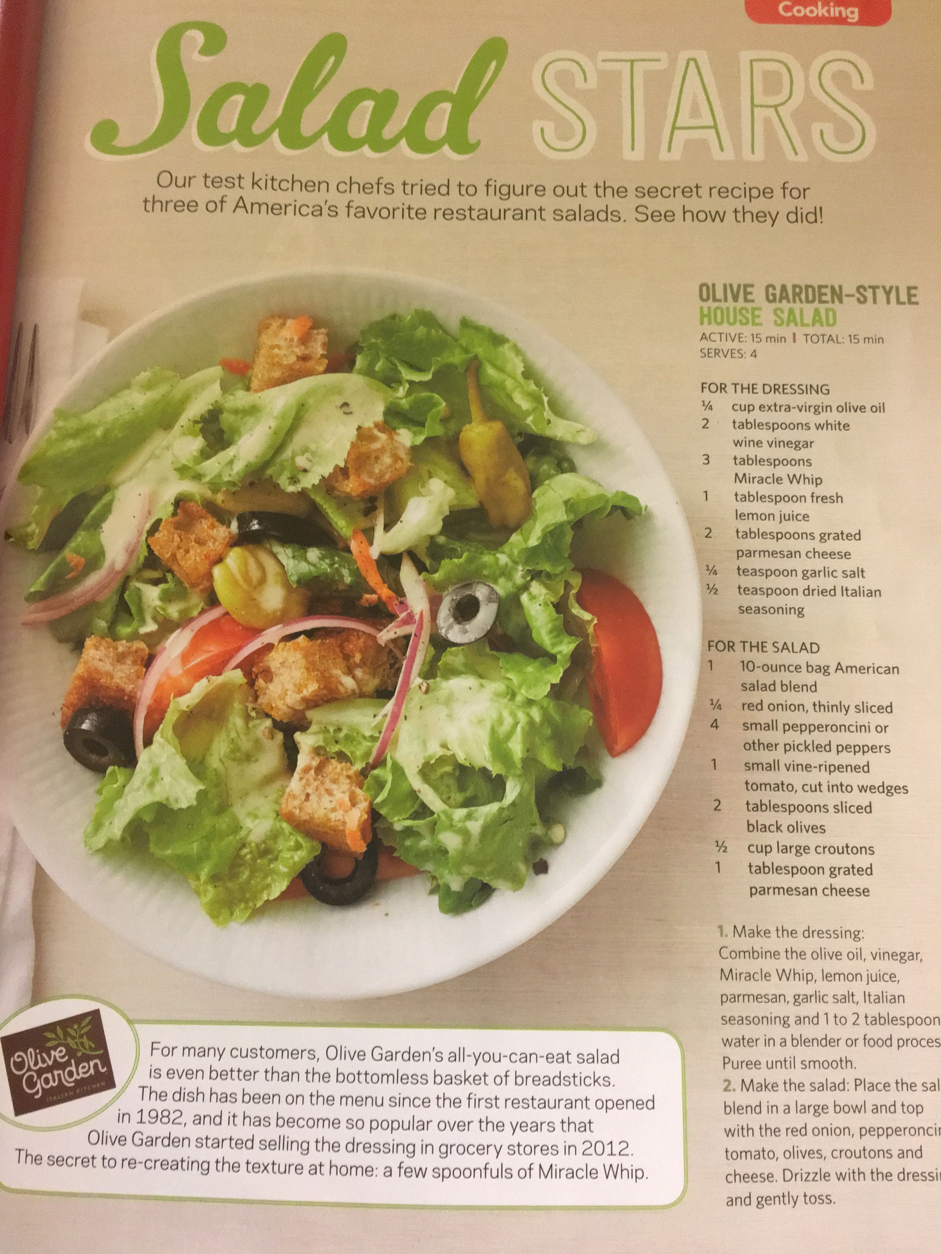 Olive Garden House Salad Olive gardens, Salad recipes