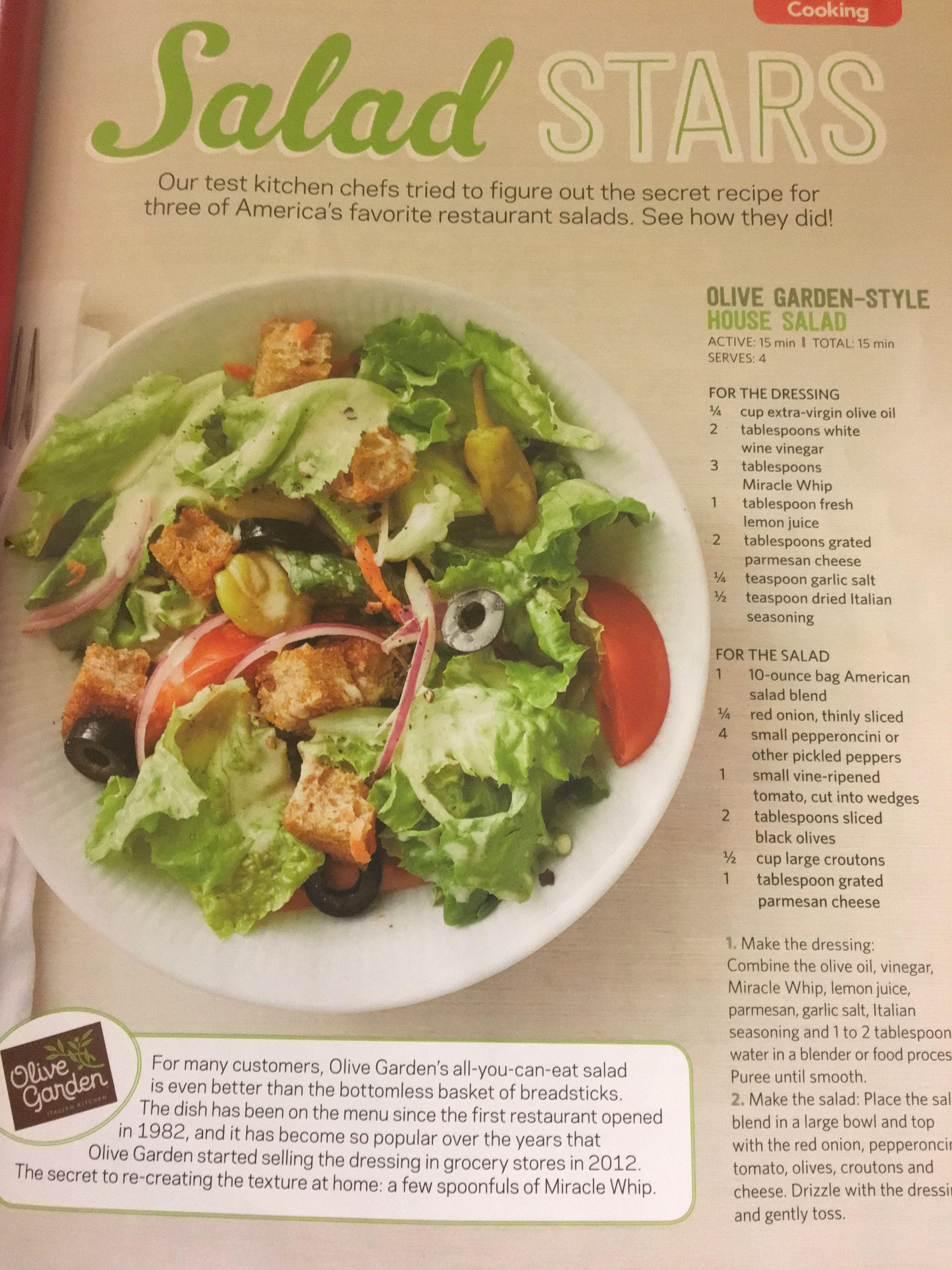Olive Garden House Salad Olive gardens, Salad recipes