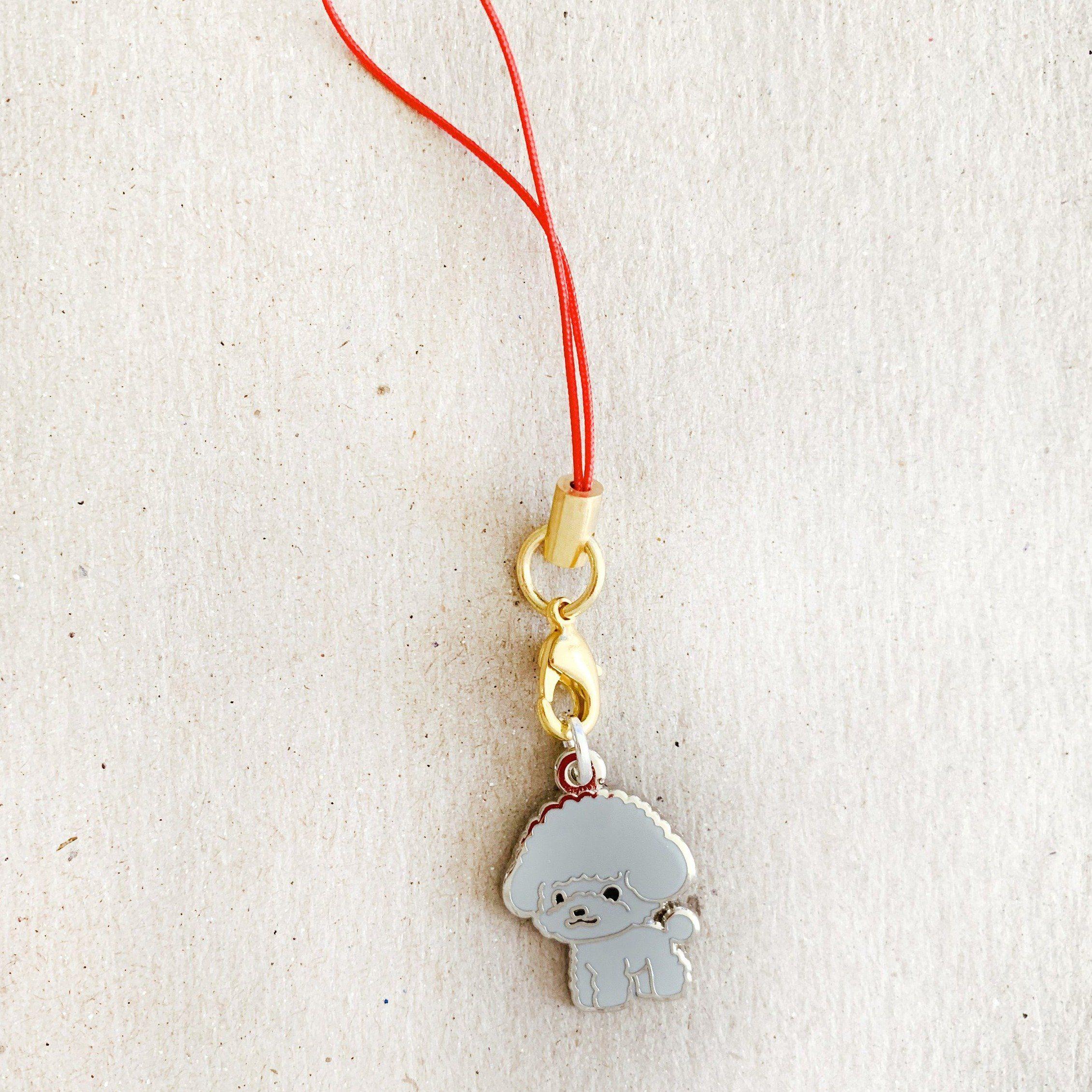 Enamel Charm - Toy Poodle Keychain (Gray)