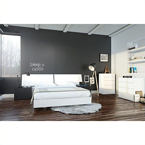 Nexera Melrose 6 Piece Queen Bedroom Set in White and Black - Modern