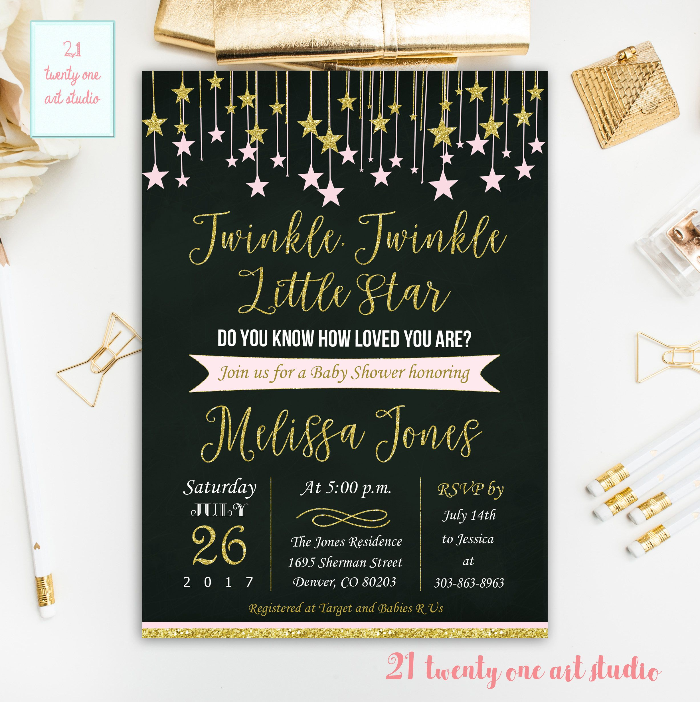 Twinkle Twinkle Little Star Baby Shower Invitation, Pink and Gold ...