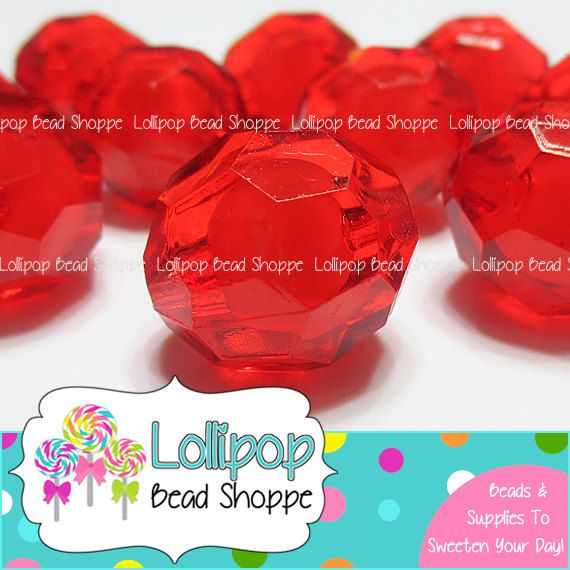 20mm RED Bead in Bead Faceted Beads Round by LollipopBeadShoppe