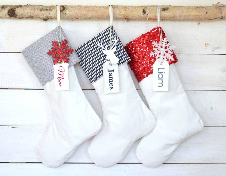 Christmas Stockings Set of 3 - Velvet Stockings, Christmas Stockings ...