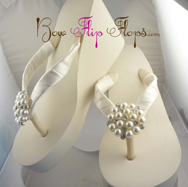 Ivory Wedge Bridal Flip Flops Rhinestone Satin By