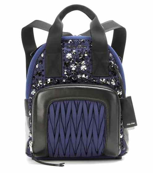 Leather-trimmed embellished backpack   Miu Miu   Backpacks ... c6daa71b94