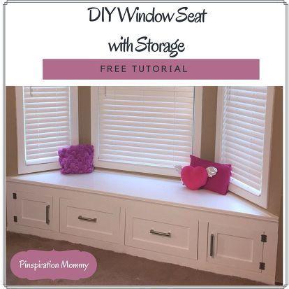 DIY Builtin Window Seat With Drawer and Cabinet Storage Storage