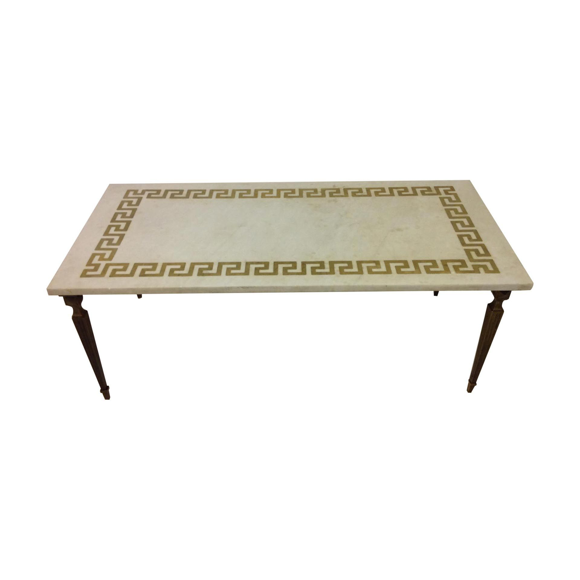 Marble and brass coffee table with greek key inlay marbles keys marble and brass coffee table with greek key inlay geotapseo Gallery