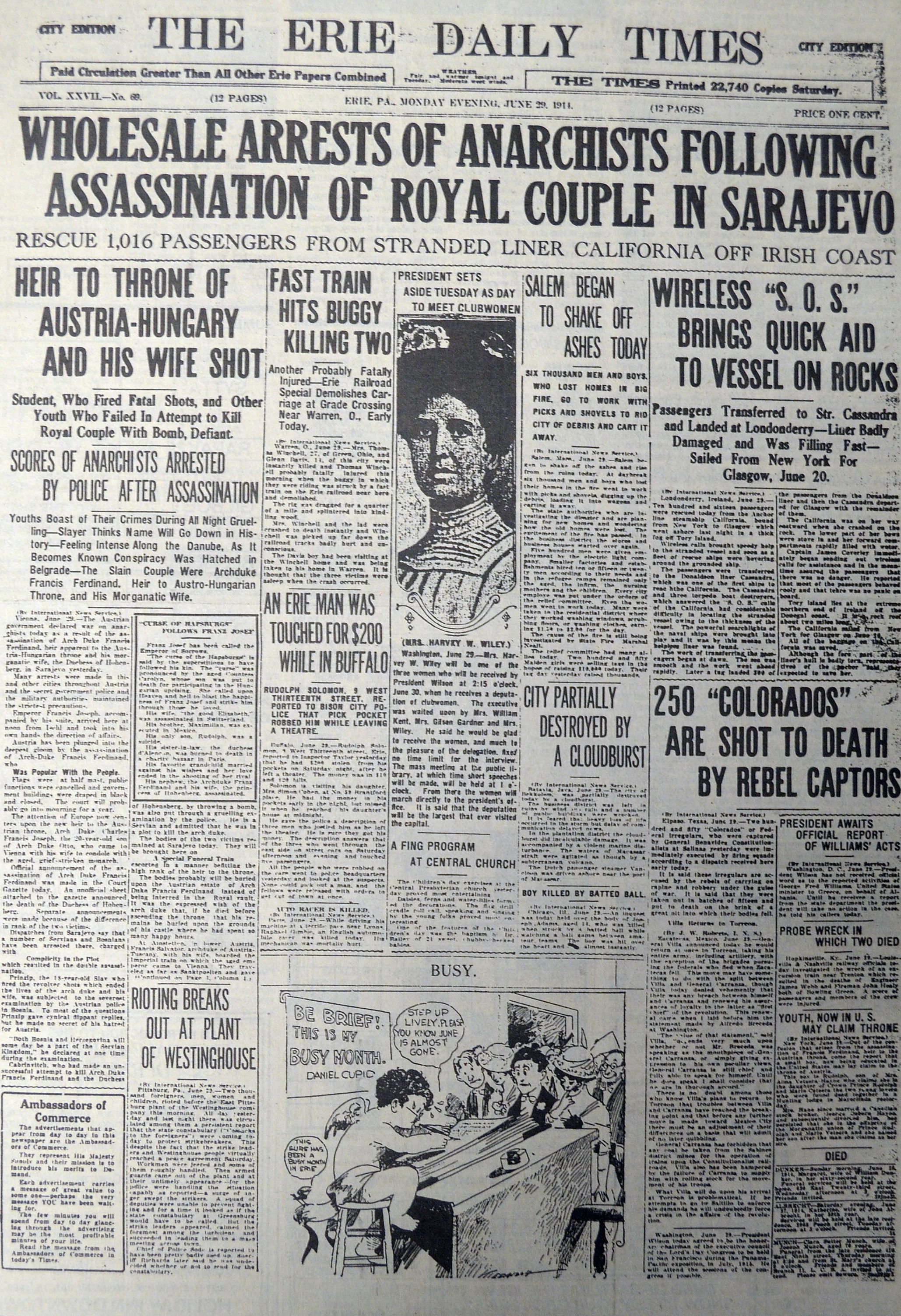 The Erie Daily Times Reports On The Assassination Of Archduke Franz Ferdinand Of Austria And His Wife In Its Jun World War One World War I Historical Documents