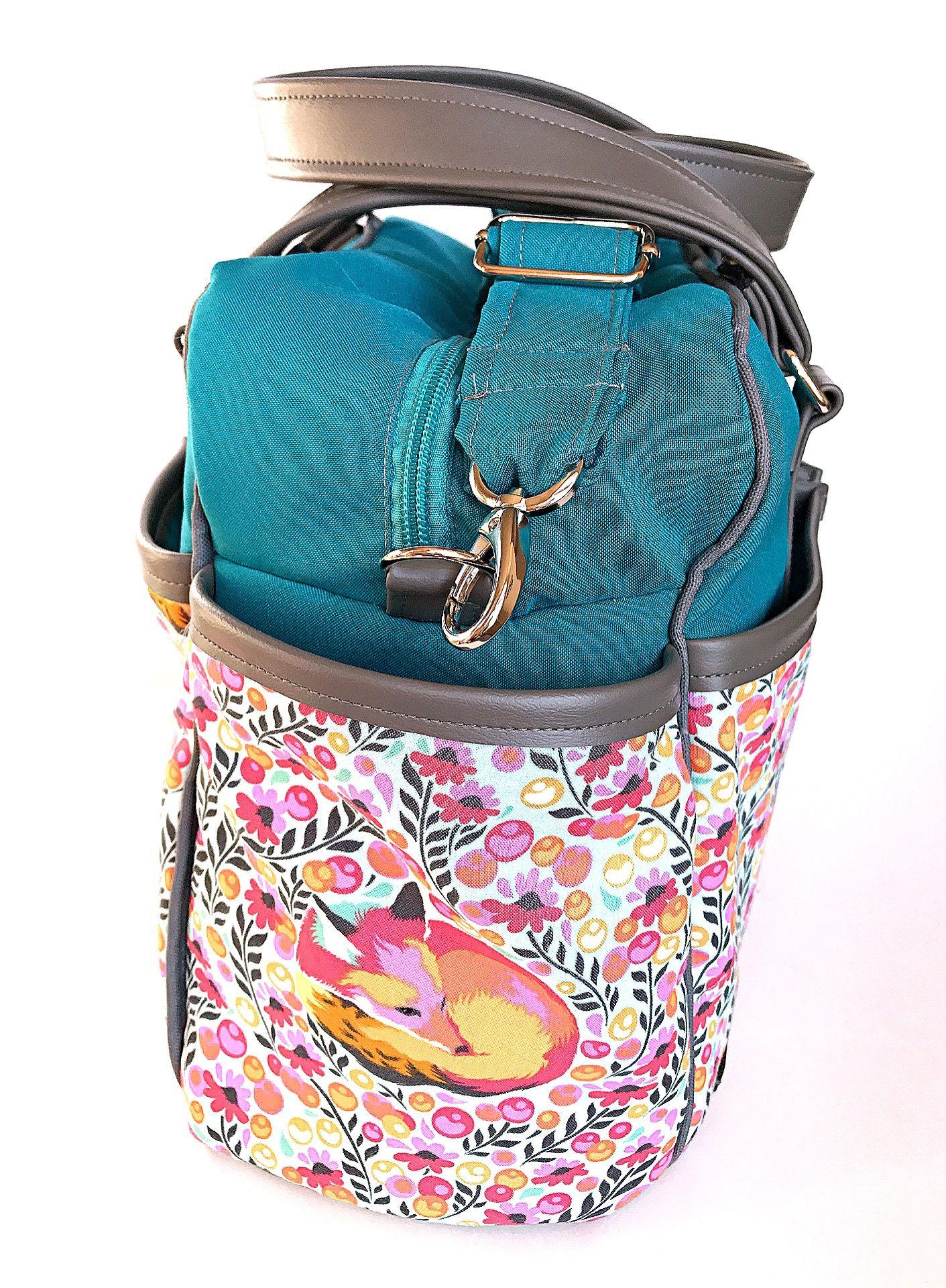 Fox Diaper bag with 8 slip pockets and 1 zipper pocket