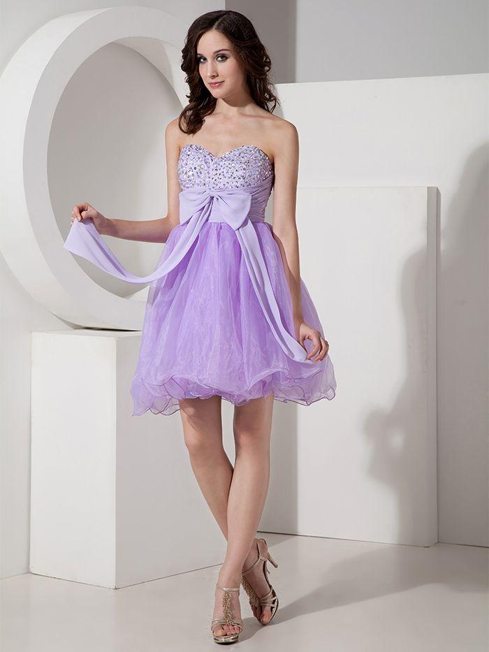 2015 lila Short Prom Dresses Mini Perlen Organza Partykleider Kurze ...
