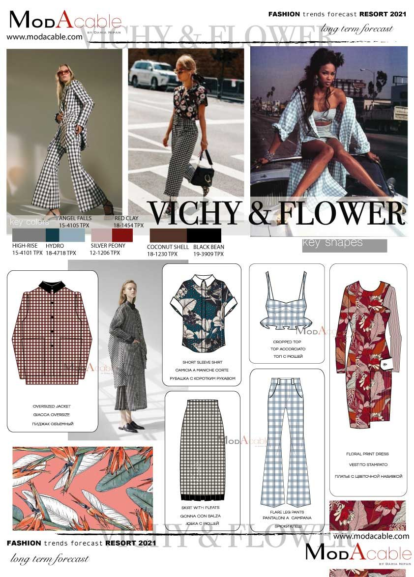 Resort 8 fashion trend Vichy & Flowers  Модные стили