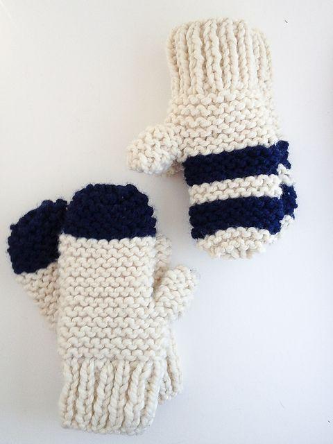 Garter Stitch Chunky Mittens pattern by flax & twine | anne b. weil ...