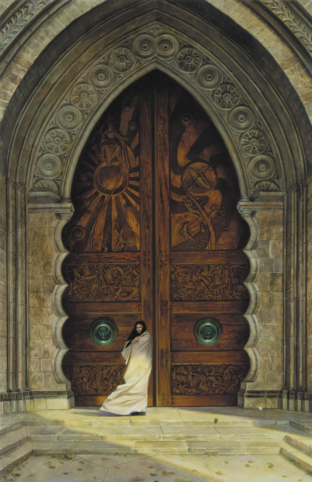 The doors of obernewtyn by donato giancola oil on paper mounted on