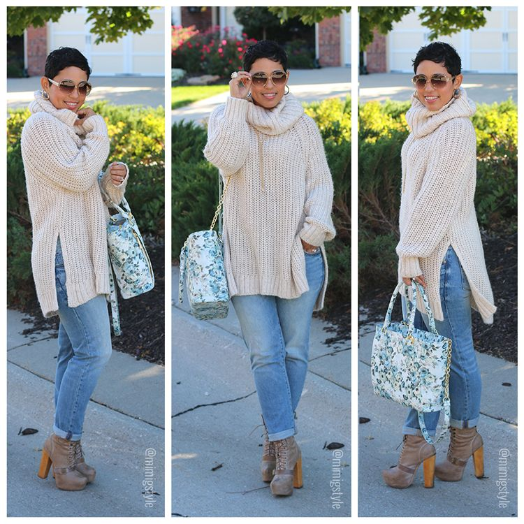 H&M Oversized Sweater/Gap Boyfriend Jeans/Steve Madden Boots/Dagme Dover floral tote bag