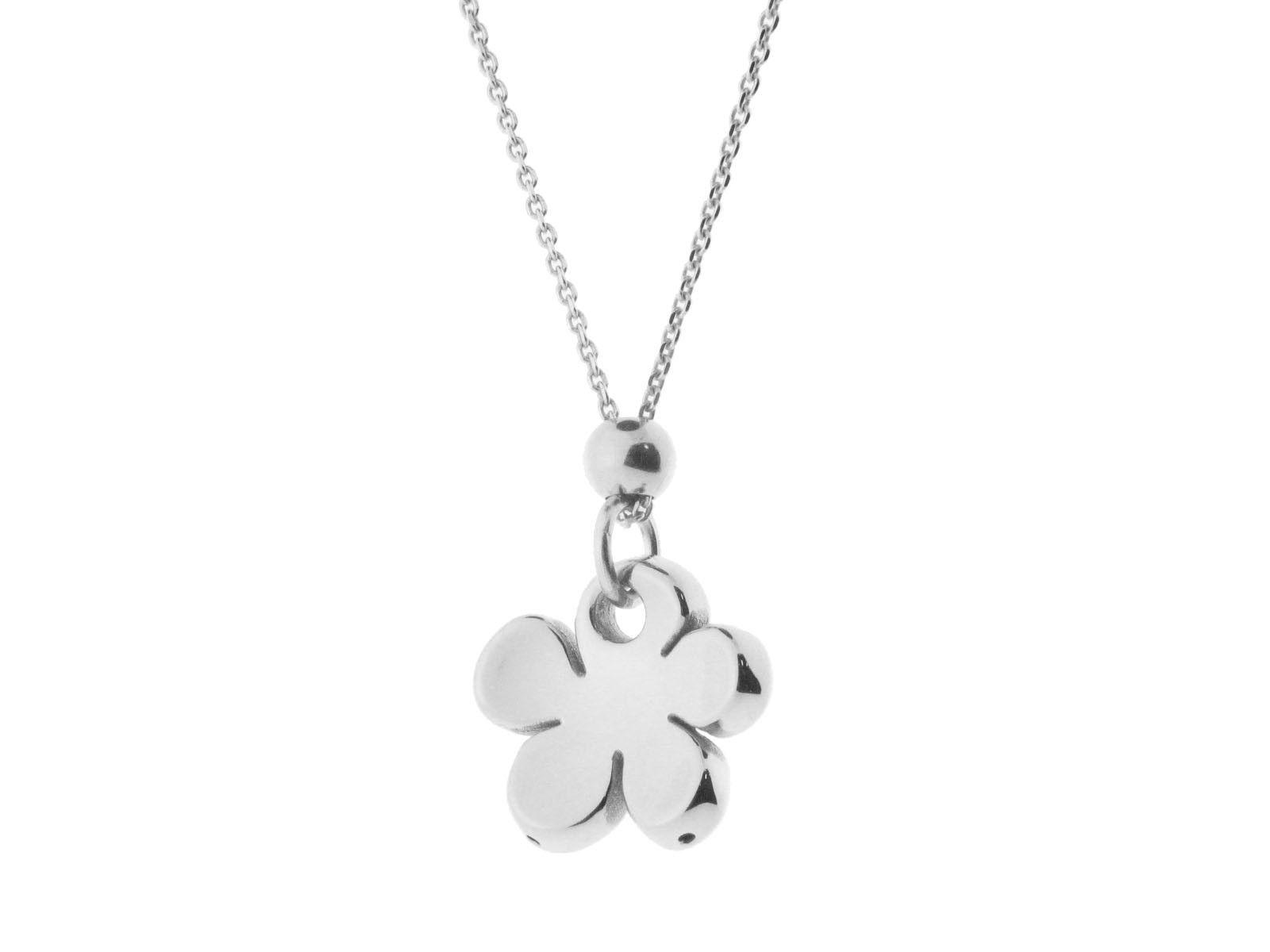 """Sterling Silver Pendant Flower High Polished Electroform 18"""""""