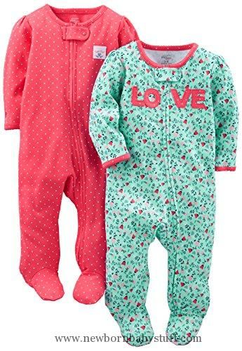 dd35732fc9b4a Baby Girl Clothes Simple Joys by Carter's Girls Baby 2-Pack Cotton Footed  Sleep and Play, Love/Pink Dots, 0-3 Months