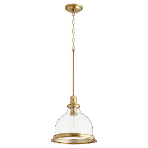 Quorum International Aged Brass With Clear 12 Inch One Light Pendant 6193 12 80 Bellacor In 2020 Clear Glass Pendant Light Gold Pendant Lighting Brass Pendant Lights Kitchen