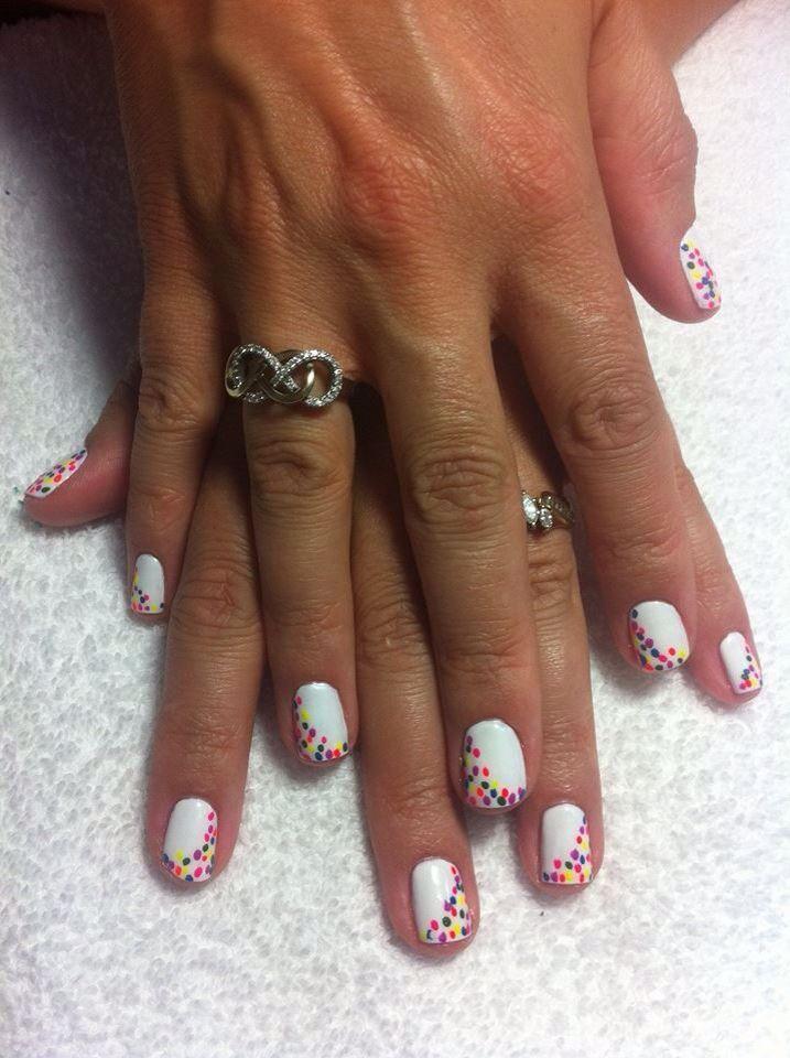 Rainbow Dots Nails Art