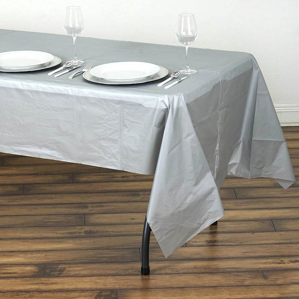 54 X 108 Silver 10 Mil Thick Waterproof Tablecloth Pvc Rectangle Disposable Tablecloth In 2020 Plastic Table Covers Plastic Tables Table Covers