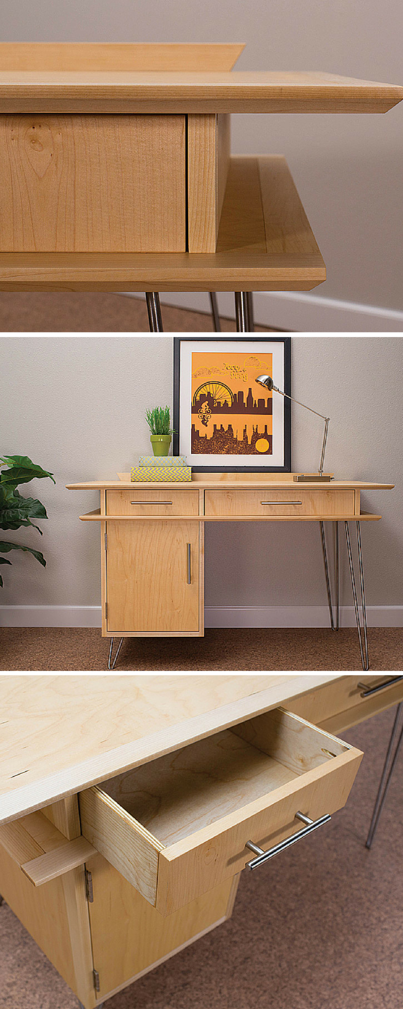 This Desk Perfectly Captures The Spirit Of Mid Century Modern With Its Naturally Finished Maple Wood Stai Mid Century Desk Mid Century Modern Desk Modern Desk