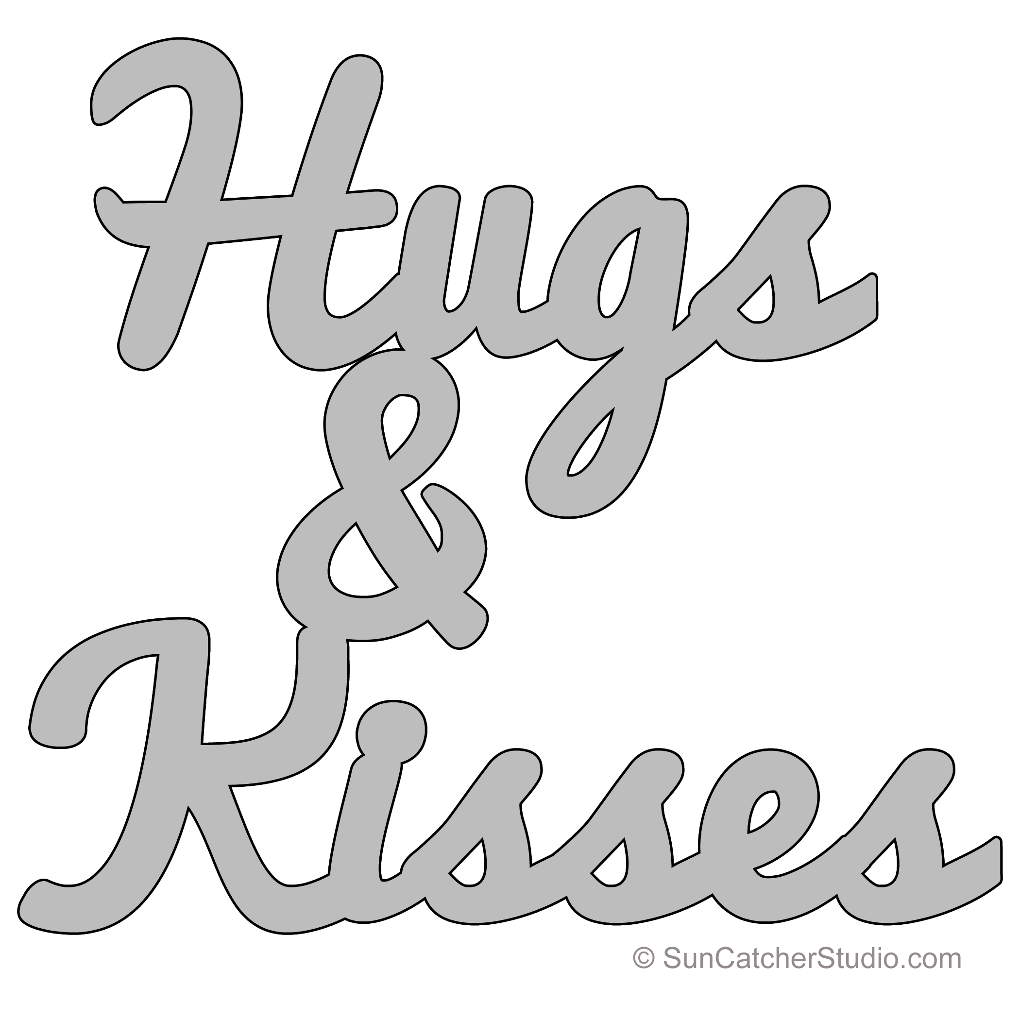 Hugs Kisses Pattern Template Stencil Printable Word Art Design Stencils Printables Templates Word Stencils Word Art Design