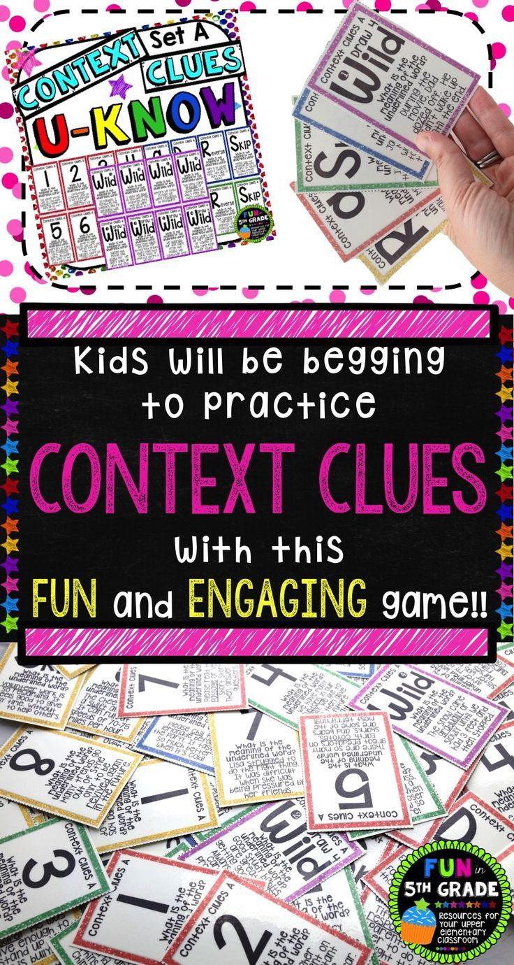 Context Clues Game for Literacy Centers: U-Know | Vocabulary Game ...