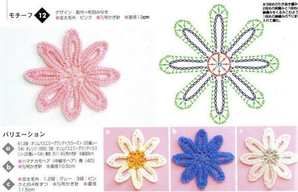 Muchos patrones de flores en crochet | Patrones crochet | Tejido ...