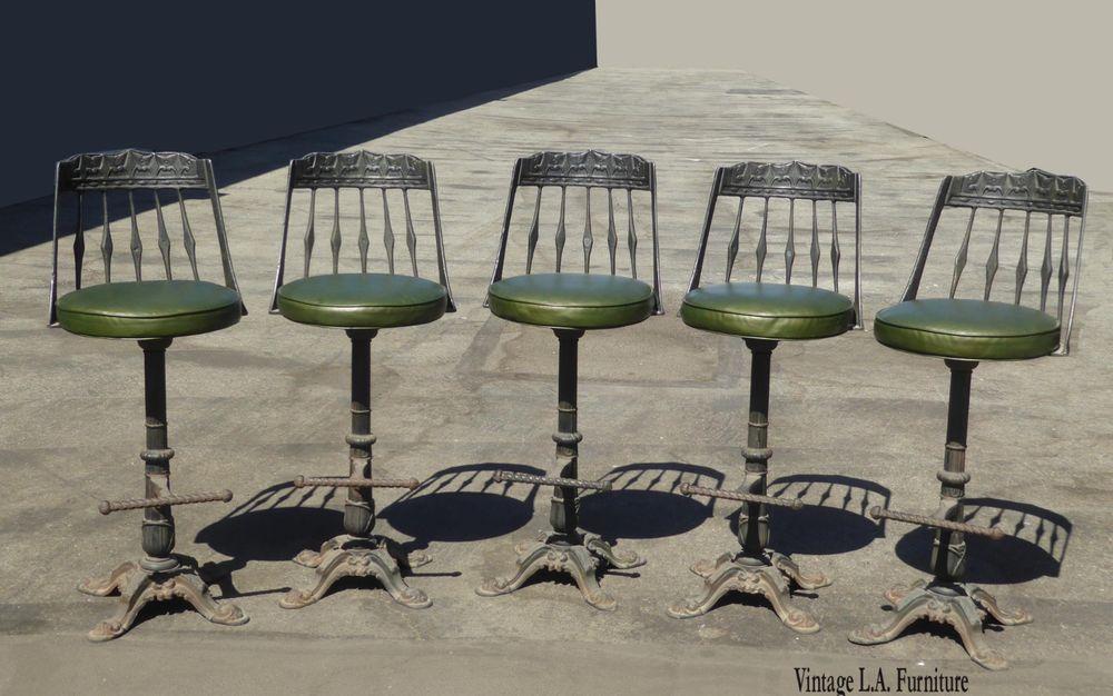 Set Of Five Vintage Spanish Style Green Swivel Cast Iron Bar Stools Iron Bar Stools Bar Stools Spanish Style Cast iron bar stools